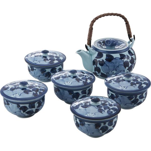 波佐見焼 林千作 花唐草絵 番茶器揃 和陶器 和陶茶器 蓋付土瓶茶器 007-290M(代引不可)【送料無料】