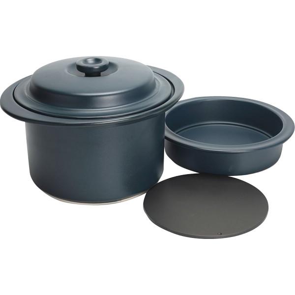 萬古焼 クレストボイル鍋 スチーム鍋セット(藍) 和陶器 陶器鍋 土鍋セット 21‐52(代引不可)【送料無料】
