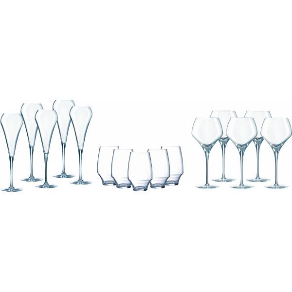 シェフ ソムリエ オープンナップ 5人用ディナーセット オープンナップ ガラス製品 ガラスカップ ワインセット CS026(代引不可)【送料無料】