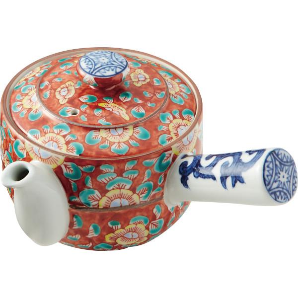清水焼 赤濃牡丹唐草 急須 和陶器 和陶茶器 急須単品 DIN033(代引不可)【送料無料】