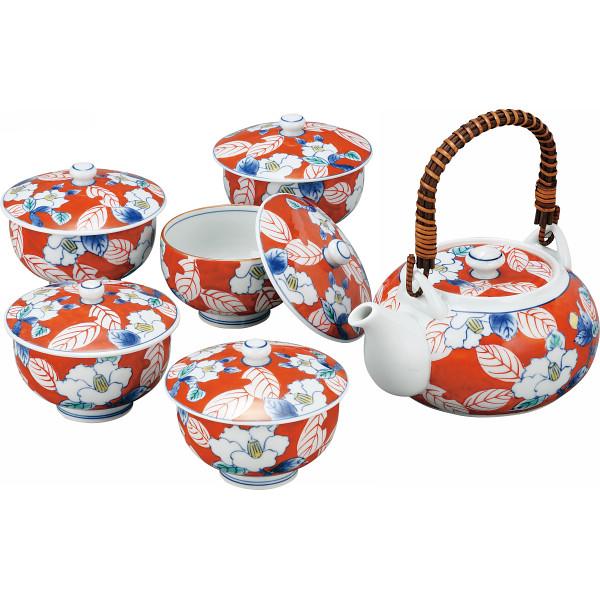 色彩山茶花 番茶器揃 和陶器 和陶茶器 蓋付土瓶茶器(代引不可)【送料無料】