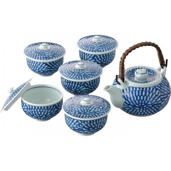 林千作 蛸唐草絵 番茶器揃 和陶器 和陶茶器 蓋付土瓶茶器 007-270M(代引不可)【送料無料】