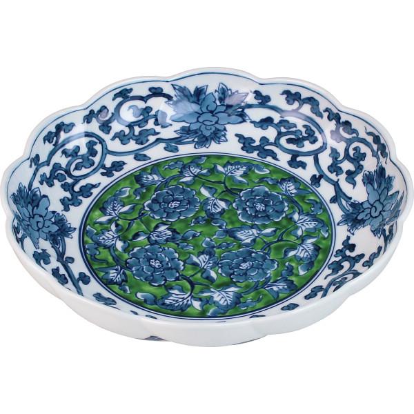 亮秀窯 緑彩牡丹 24 cm 鉢 和陶器 和陶鉢 大鉢セット(代引不可)【送料無料】