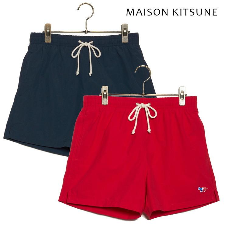 MAISON KITSUNE SWIM SHORT TRICOLOR FOX AM03100AT6001 メゾンキツネ スイムパンツ メンズ 水着 NAVY RED【送料無料】