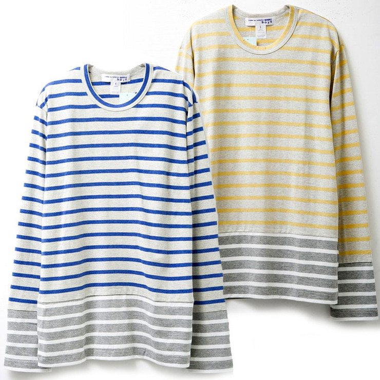 COMME DES GARCONS メンズ長袖Tシャツ w24930 SHIRT LS TEE ボーダー BLUE×GREY×WHITE YELLOW×GREY×WHITE コムデギャルソン