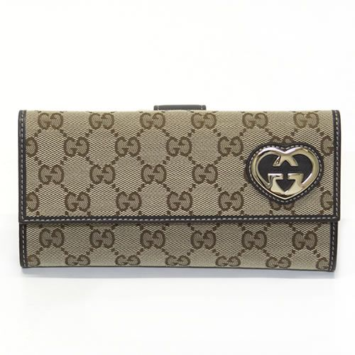babf5d044f7057 Gucci original GG canvas heart W hook two bi-fold wallet beige / cocoa  245723 FAFXG 9643