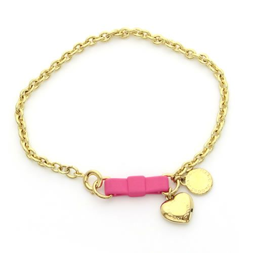 Marc By Jacobs Bow Tie Bracelet Heart Ribbon Chain M0004228 676 Knock Out Pink