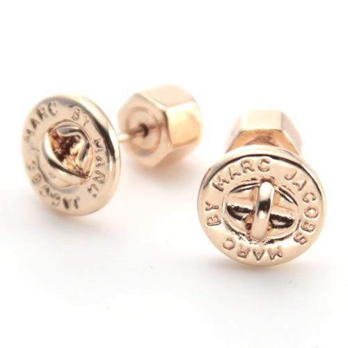 Marc By Jacobs Turnlock Studs Lock Logo Earrings M3pe537 715 80604 Rose Gold