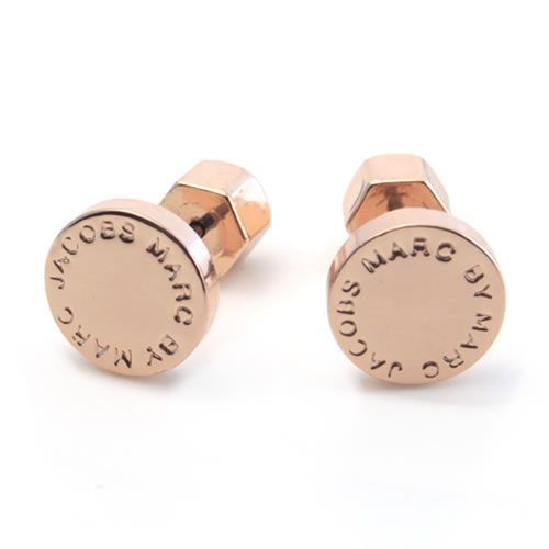 Marc By Jacobs Clic Logo Disc Studs Mark Disk Earrings M3pe521 715 80604 Rose Gold