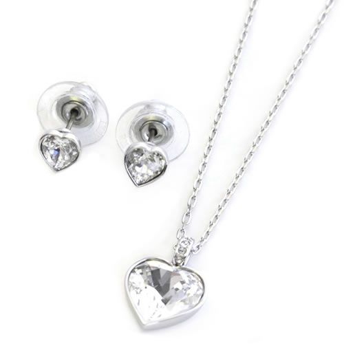 Swarovski Agree Heart Motif Crystal パヴェネックレス Pierced Earrings Set 5032996