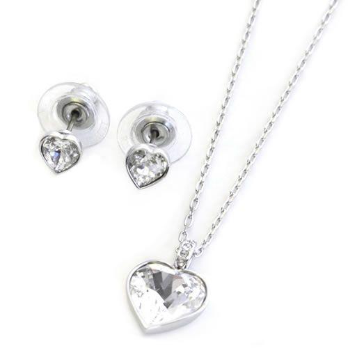 eccdfb26d Agree Swarovski heart motif Crystal / Crystal pavé necklace, boxed  stud earring set 5032996 ...