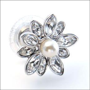 """施华洛世奇Disney Jewelry Cinderella Pierced Pearl迪士尼公主""""灰姑娘""""珍珠花水晶无环耳环5118319"""