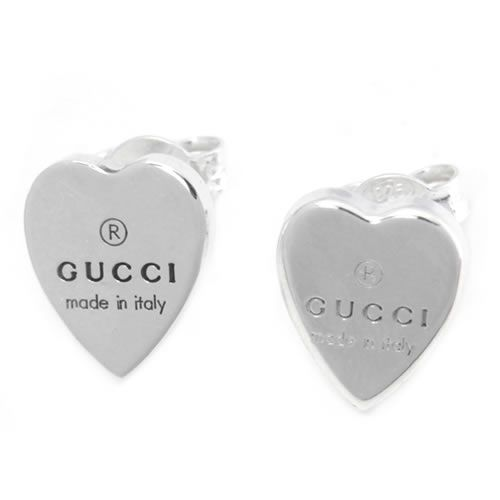 15331b836c8 Gucci 223990-J8400-8106 gucci trademark engraved heart motif Stud Earrings  sterling silver