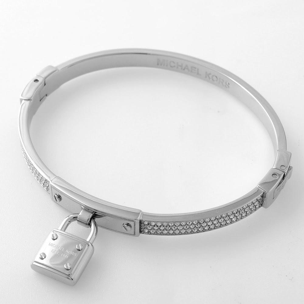 Michael Kors Padlock Charm Pavé Bangle Bracelet Pave Silver Tone Mkj3019040