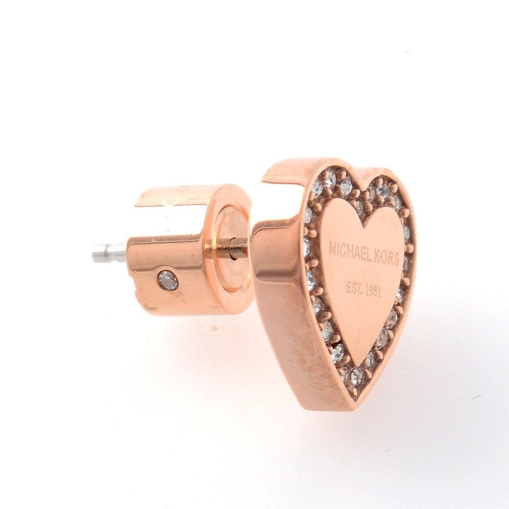 9c407674c ... Michael Kors MICHAEL KORS pave heart Stud Earrings Pave Rose Gold-Tone  Heart Stud Earrings ...