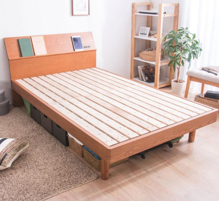 ベッド ダブル フレーム 高さ調整 調節 木製 棚付きベッド TORINOトリノ フレームのみ ダブル(代引不可)【送料無料】