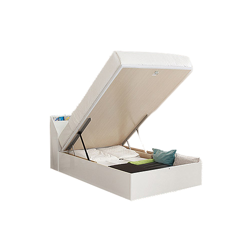深型・縦開き 3段書棚付 リフトアップ収納庫ベッド 【EQUIPE エキップ】 フレームのみ セミシングル(SS)(代引不可)【送料無料】