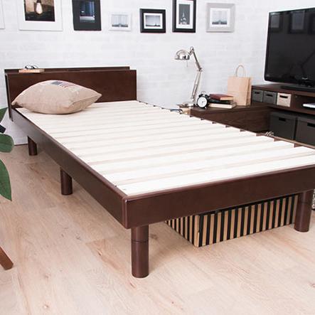 すのこベッド シングル コンセント付 ポラリス シングル フレームのみ 頑丈 シンプル 天然木フレーム 高さ3段階調整(代引不可)【送料無料】