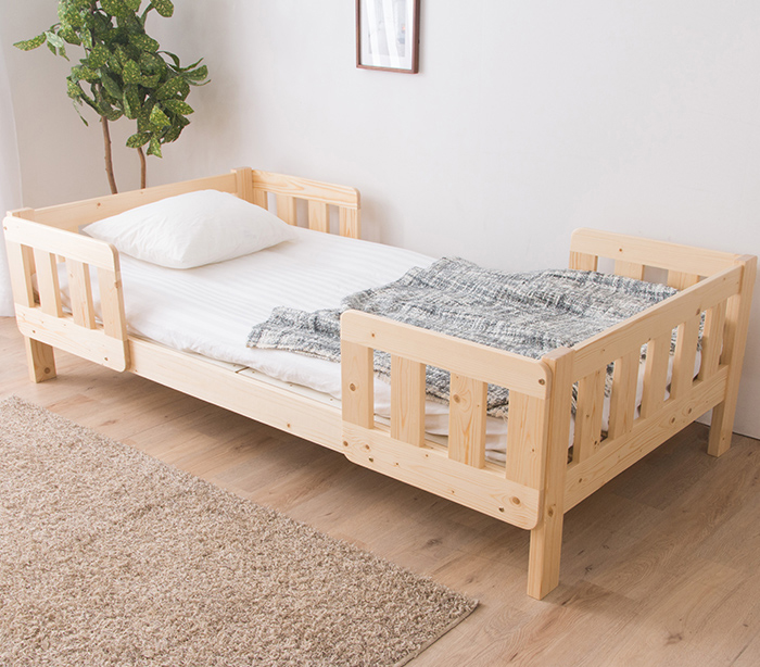 ツインベッド シングル 棚なし 連結ベッド 分割ベッド フレーム 子供用 大人用 天然木パイン無垢 親子ベッド ナチュラル(代引不可)【送料無料】