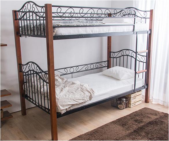 クラシック調2段ベッド 二段ベッド 大人 アイアンベッド アイアン アンティークベッド ビンテージ ヴィンテージ 子供用ベッド(代引不可)【送料無料】