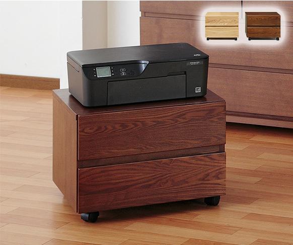 プリンターワゴン収納 天然木を贅沢に使用 シンプルなシステム家具シリーズ 収納 袖机 引き出し 組み立て 組立(代引不可)【送料無料】