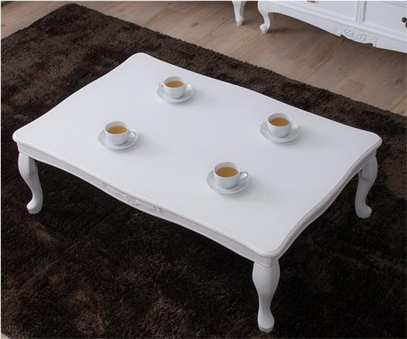 折り畳み猫脚テーブル 約120×80cm リビングテーブル ローテーブル 折りたたみ式テーブル 猫足 アンティークスタイル(代引不可)【送料無料】