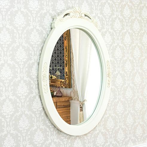 アンティーク調ウォールミラー 壁掛け 鏡 猫脚プリンセスシリーズ ドレッサー 鏡台 リビング ホワイト 姫系(代引不可)【送料無料】