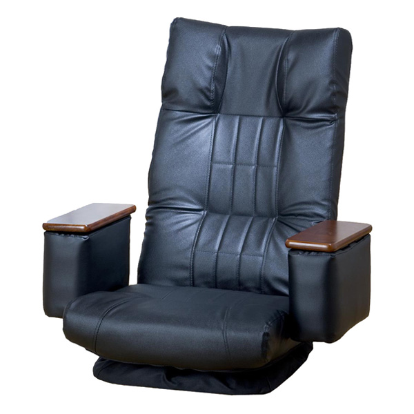回転座椅子 折り畳み式 木肘小物入れ付回転座椅子 14段リクライニング 折りたたみ可 座椅子 回転(代引不可)【送料無料】