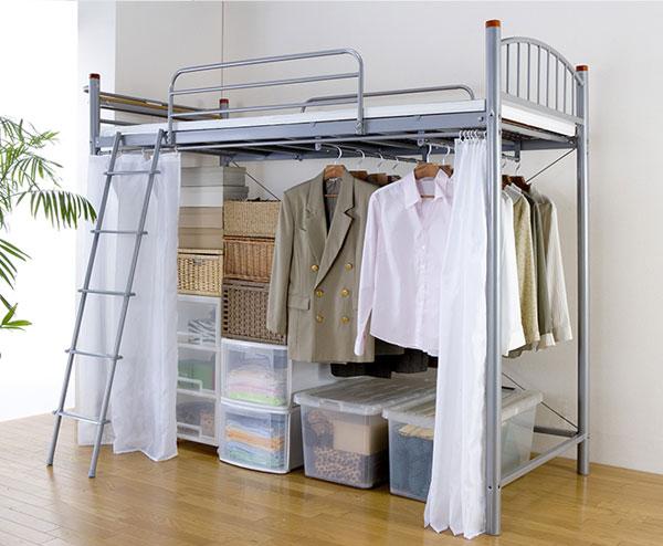 パイプロフトベッド ロフトベッド シングルサイズ シングルベッド ベッド 収納 2口コンセント ハンガーパイプ付き(代引不可)【送料無料】