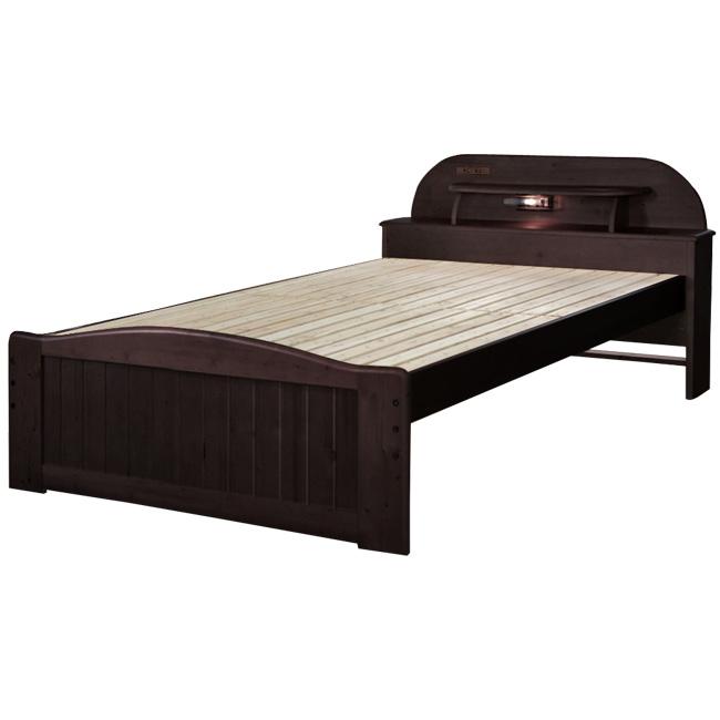 宮付きライト付きすのこベッド セミダブル セミダブルベッド ベッド すのこベッド スノコベッド ベット おしゃれ(代引不可)【送料無料】