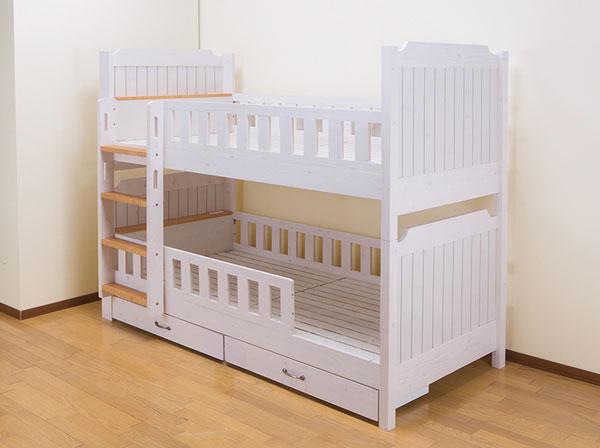 カントリー調2段ベッド 引出付き シングル シングルサイズ 引き出し付き ベッド 上下段 2段ベッド 通気性 シンプル(代引不可)【送料無料】