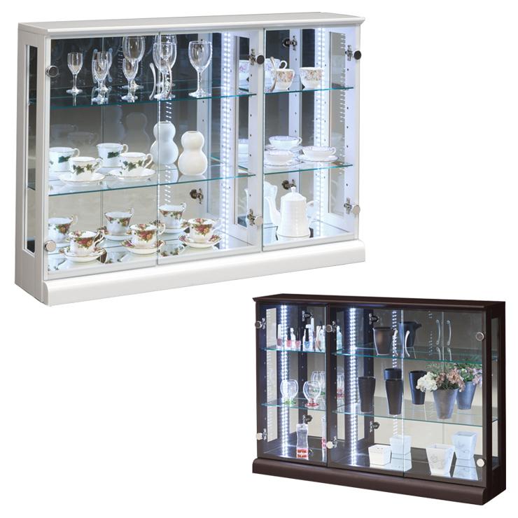 コレクションケース幅110 高さ80 完成品 リビングボード コレクションボード 飾り棚 ガラス棚 ショーケース リビングボード(代引不可)【送料無料】