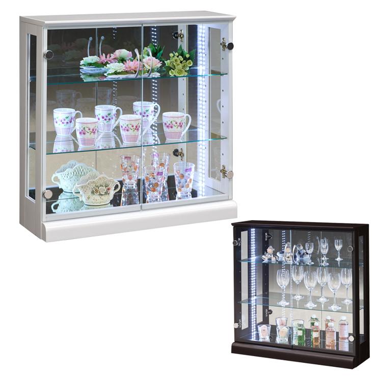 コレクションケース幅80 高さ80 完成品 リビングボード コレクションボード 飾り棚 ガラス棚 ショーケース リビングボード(代引不可)【送料無料】