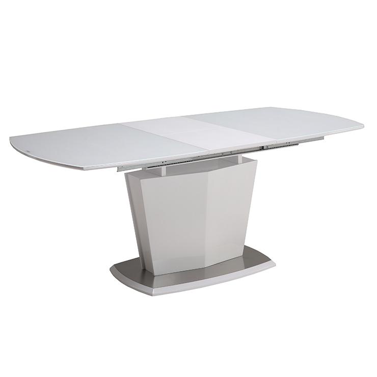 ダイニングテーブル 食卓テーブル ホワイトテーブル 強化ガラス 伸長式 幅140 幅180cm 奥行85cm 高72cm 軒先渡し 組立(代引不可)【送料無料】