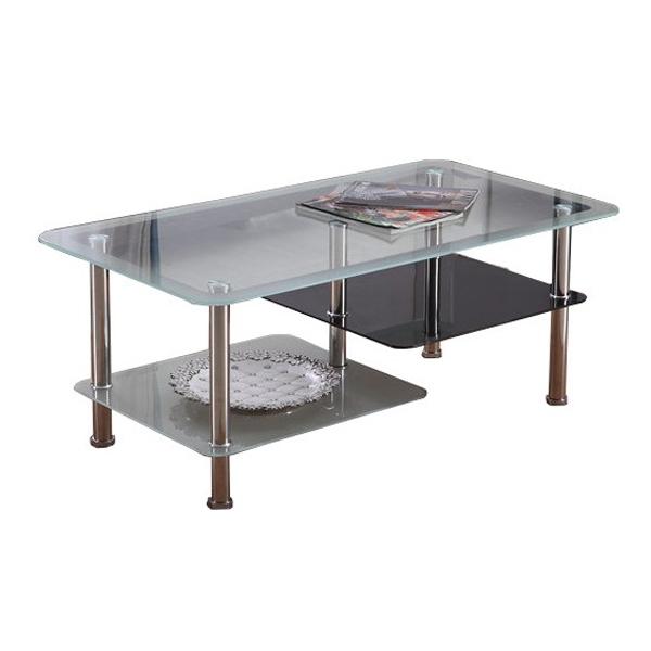 ガラステーブル リビングテーブル センターテーブル ローテーブル 幅90 奥行50 高さ42 強化ガラス 天板6mm 組立 おしゃれ(代引不可)【送料無料】