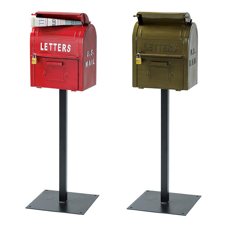 メールボックス 【幅35×奥行33×高110cm】 スタンドタイプ おしゃれ 郵便 置き型 スタンドポスト アンティーク 郵便受け【送料無料】