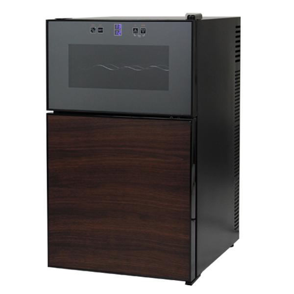 2ドアワインセラー 冷蔵庫付 冷蔵庫付ワインセラー 8本収納 1台2役 上下別温度設定 ペルチェ冷却方式 タッチパネル式 LED表示(代引不可)【送料無料】