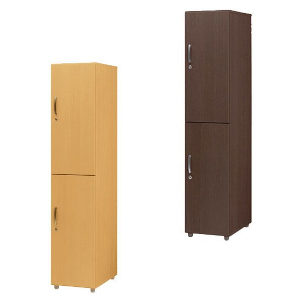 木製 ジョイントロッカー 2人用 2段 単体 ハンガーラック 衣類収納 ロッカー(代引不可)【送料無料】