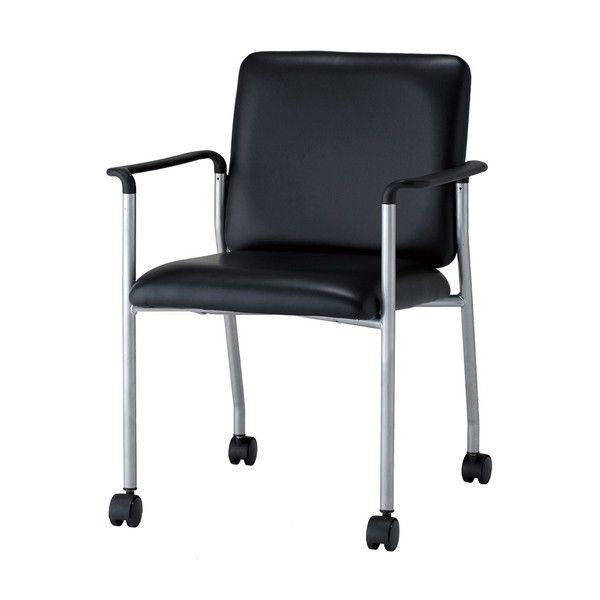 ミーティングチェア 会議用チェア 肘付き PVCレザー キャスター付き チェア 椅子 会議用(代引不可)【送料無料】