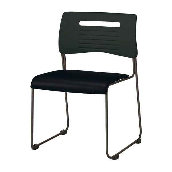 ミーティングチェア スタッキングチェア 肘無し PVCタイプ オールブラック 会議用 チェア 椅子 会議用チェア(代引不可)【送料無料】
