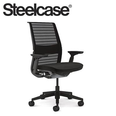【Steelcase】 スチールケース シンクチェア AJアーム付 ブラックフレーム エボニー 受注生産品 3Dニット 可動ランバー付き(代引不可)【送料無料】