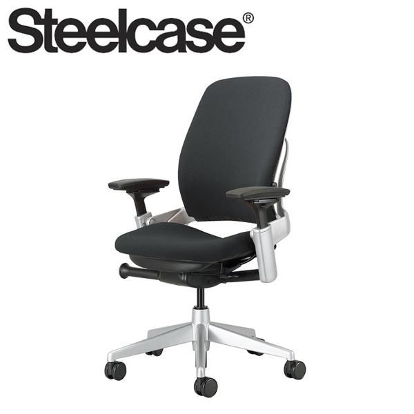 【Steelcase】 スチールケース リープチェア プラチナフレーム クロス張り ブラック 受注生産品 デスクチェア(代引不可)【送料無料】