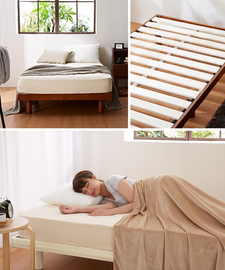 すのこベッド シングル ポケットコイルロールマットレス付 北欧 ベット ヘッドレスすのこベッド 木製 ワンルーム