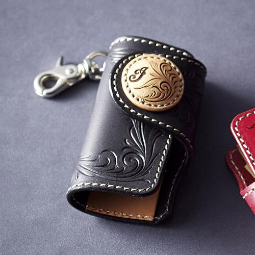 レザーコンチョ キーケース ブラック 雑貨 ホビー インテリア 雑貨 雑貨品【送料無料】