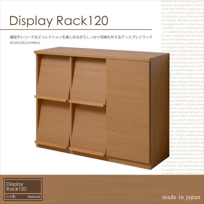 日本製(大川家具) ディスプレイラック2列2段 幅120 扉収納付 ナチュラル 2991(代引不可)【送料無料】