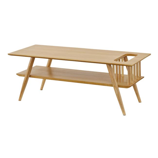 棚付センターテーブル 幅105×奥行45×高さ38cm テーブル 天然木 テーブル ウッドテーブル ダイニング 北欧 インテリア(代引不可)【送料無料】