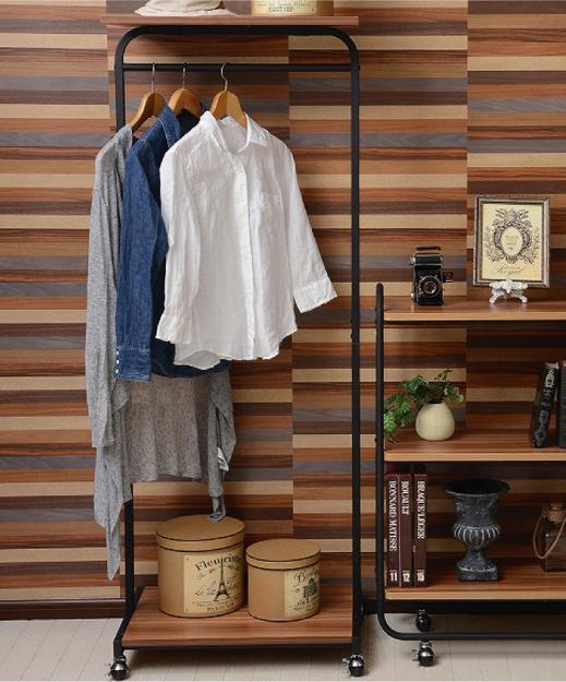 ハンガーラック幅60 オープンラック 本棚 収納家具 シェルフ アイアン パイプ デザイン ブラウン ナチュラル(代引不可)【送料無料】