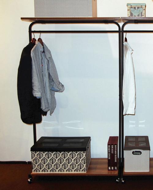 ハンガーラック幅90 オープンラック 本棚 収納家具 シェルフ アイアン パイプ デザイン ブラウン ナチュラル(代引不可)【送料無料】