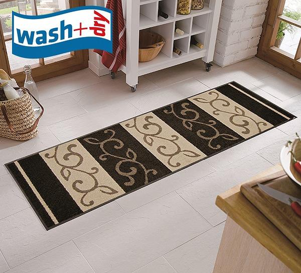キッチンマット wash+dry D002C Ranke braun 60×180cm 柄物 おしゃれ 滑り止めラバーつき(代引不可)【送料無料】