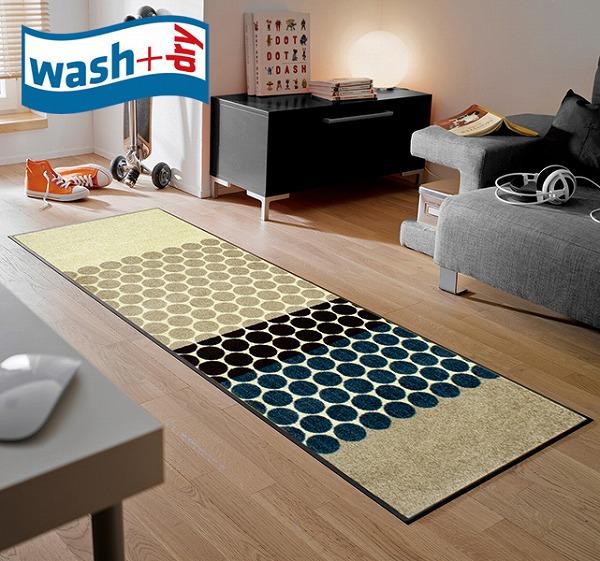 キッチンマット wash+dry J003C Mixed Dots 60×180cm 柄物 おしゃれ 滑り止めラバーつき(代引不可)【送料無料】